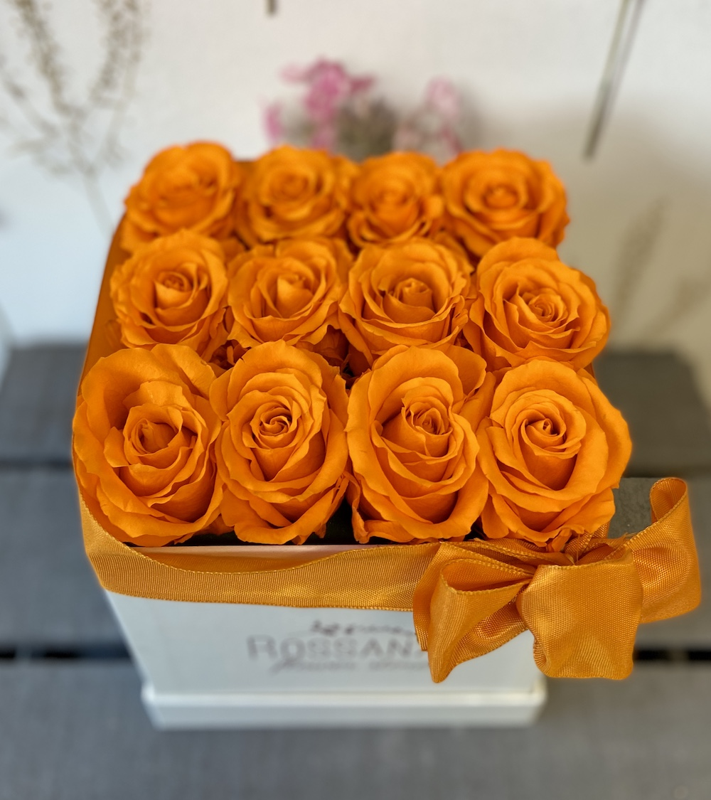 arancioflower box rose stabilizzate florashopping Rossana flower store NovellinoIMG_0360