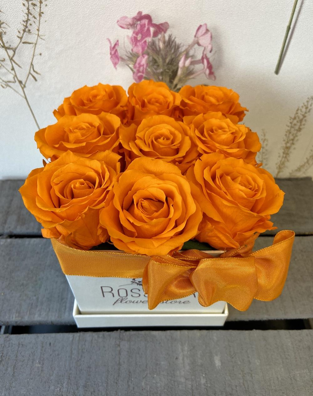 arancioflower box rose stabilizzate florashopping Rossana flower store NovellinoIMG_0366