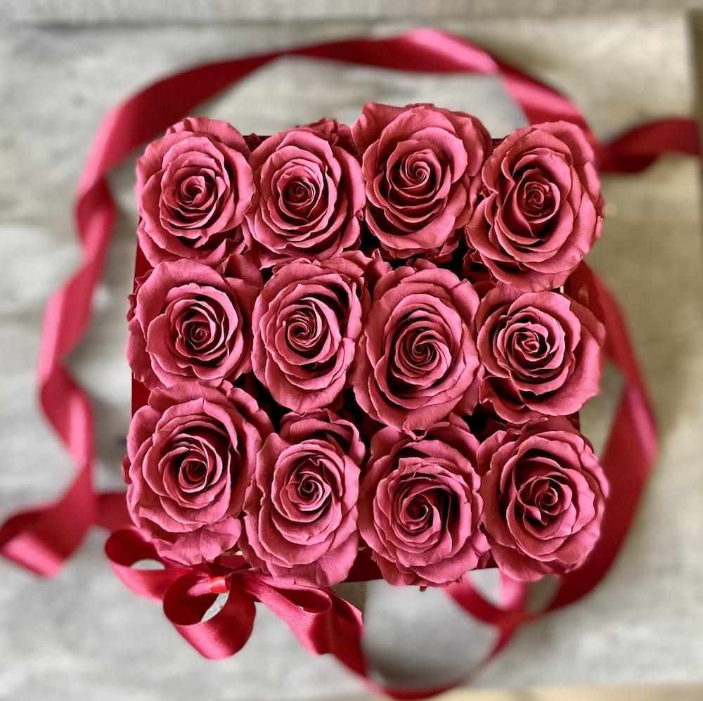 flower box rose stabilizzate cranberry florashopping Rossana flower store NovellinoIMG_0645
