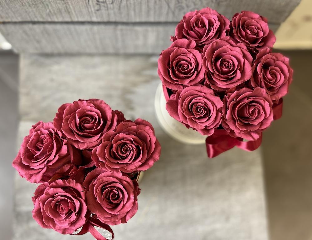 flower box rose stabilizzate cranberry florashopping Rossana flower store NovellinoIMG_0697