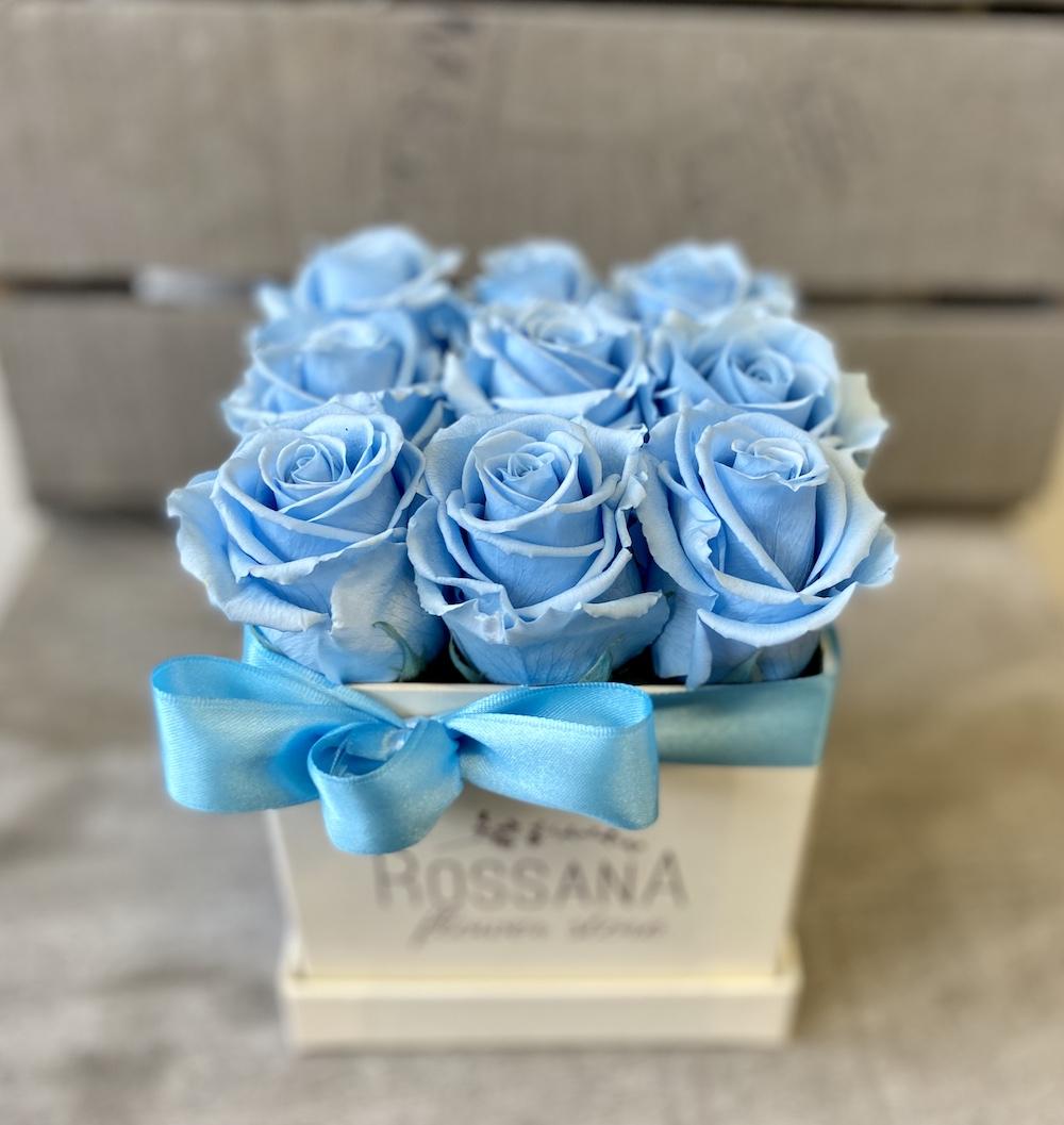 flower box rose stabilizzate florashopping Rossana flower store NovellinoIMG_0826 azzurro
