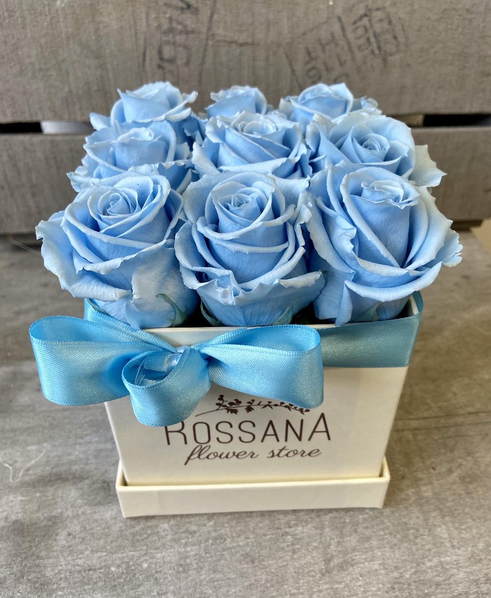 flower box rose stabilizzate florashopping Rossana flower store NovellinoIMG_0827 azzurro