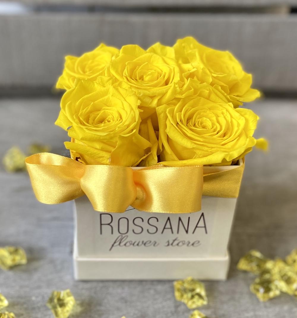 flower box rose stabilizzate gialle florashopping Rossana flower store NovellinoIMG_0505